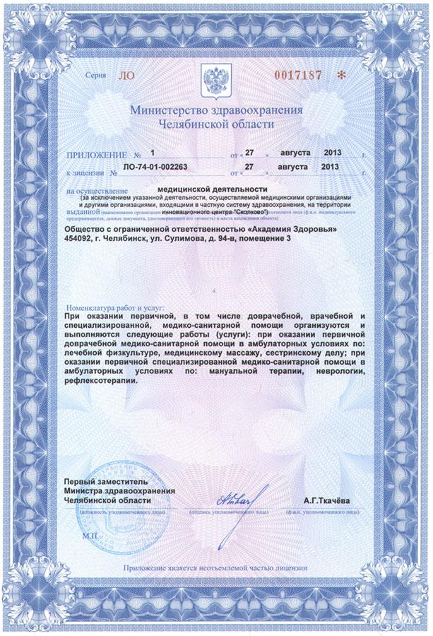 Лицензия медицинской деятельности ООО «Академия здоровья»